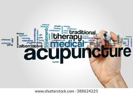 Acupuncture word cloud concept - stock photo
