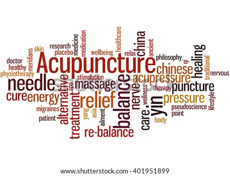 Acupuncture, word cloud concept on white background.  - stock photo