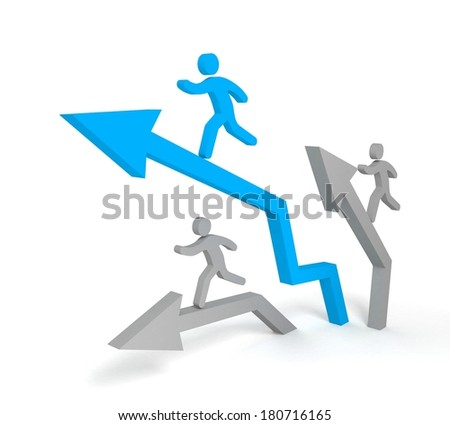 Acute arrow, Metaphor of busines growth with leader. Concept illustration. 3d visualization - stock photo