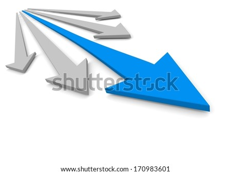 Acute arrows with leader. Concept. 3d illustration