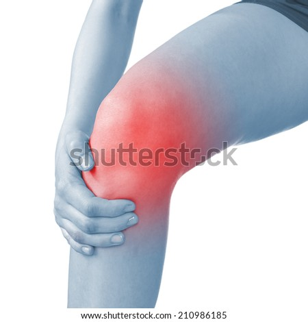 Acute pain in a knee. Woman holding hand to spot of knee-aches.