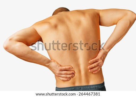 Acute pain in a male lower back, on a white background - stock photo