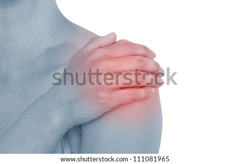 Acute pain in a woman back. Female from behind holding hand to spot of back pain. Concept photo with Color Enhanced blue skin with read spot indicating location of the pain. - stock photo