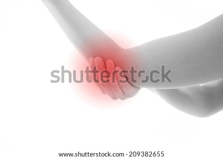 Acute pain in a woman elbow. with red alert accent - stock photo