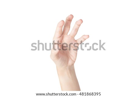 Acute pain in a woman hand isolated on white background. Clipping path on white background