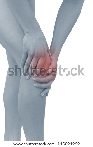 Acute pain in a woman  knee. Female holding hand to spot of knee-aches. Concept photo with Color Enhanced blue skin with read spot indicating location of the pain. Isolation on a white background. - stock photo