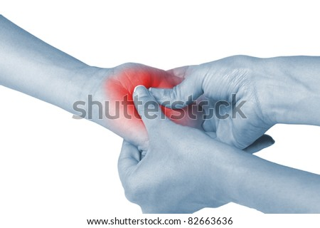 Acute pain in a woman Pain.  Isolation on a white background