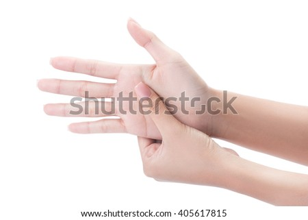 Acute pain in a woman palm, a woman massaging her painful hand isolated on a white with clipping path. - stock photo