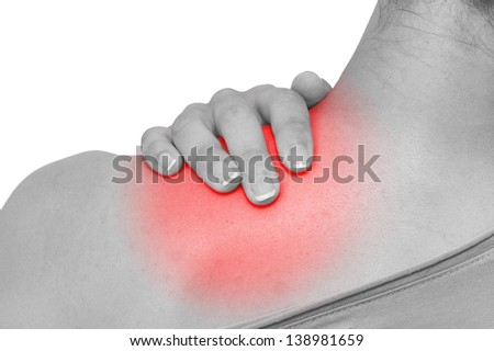 Acute pain in a woman shoulder. Isolation on a white background. - stock photo