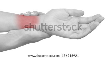 Acute pain in a woman wrist. Isolation on a white background.Color Manipulation image to emphasize the pain.
