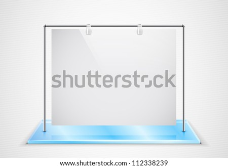 Ad screen hanging on metal frame standing on glass foundation - stock photo
