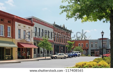 Adairsville, Georgia in the Northwest Georgia mountains.  Population approximately 4600 about an hour North of Atlanta.  Their small town square business center on an early morning. - stock photo