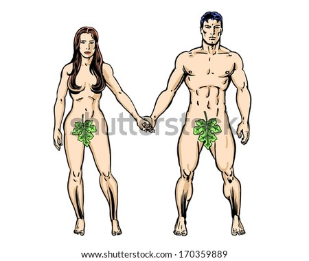 Adam and Eve Comic Book Illustrated Characters - stock photo