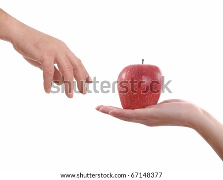 Adam and Eve,  Woman gives Apple a man, isolated on white