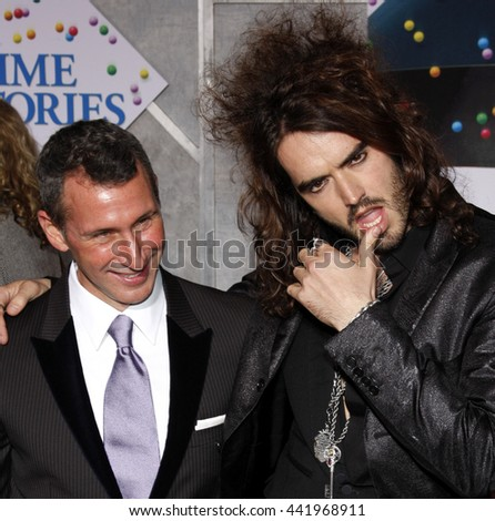 Adam Shankman and Russell Brand at the Los Angeles premiere of 'Bedtime Stories' held at the El Capitan Theater in Hollywood, USA on December 18, 2008. - stock photo