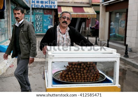 Adana, Turkey - April 03, 2015: Homemade desserts sold on the streets in Adana.