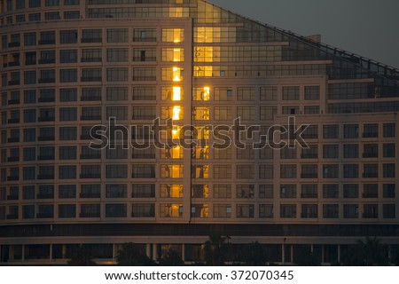 ADANA,TURKEY-DECEMBER 13:Sheraton Adana hotel located right by the River Seyhan and newest 5 star hotel in the city.December 13,2015 in Adana,Turkey.