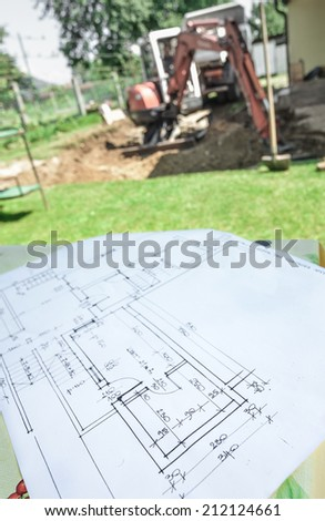 Adaptation, renovation, building of the house according to architectural blueprint plan - stock photo