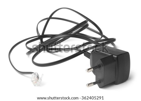 Adapter for cordless telephone on white background
