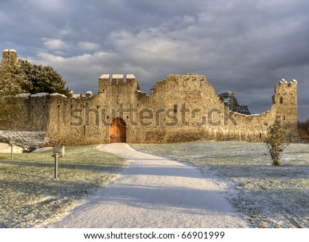 Adare Abbey in Ireland at winter time - stock photo