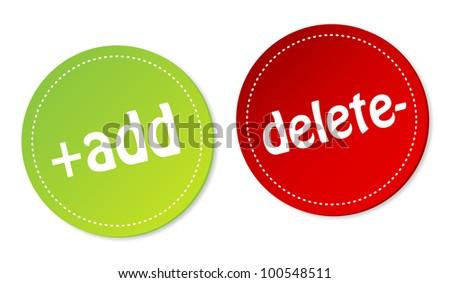 Add and Delete stickers - stock photo