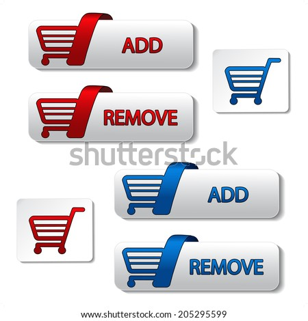add delete shopping cart item, shopping trolley, button - stock photo