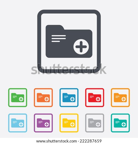 Add document folder sign. Accounting binder symbol. Bookkeeping management. Round squares buttons with frame. - stock photo