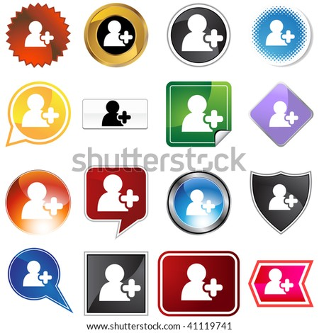 Add friend icon set isolated on a white background. - stock photo