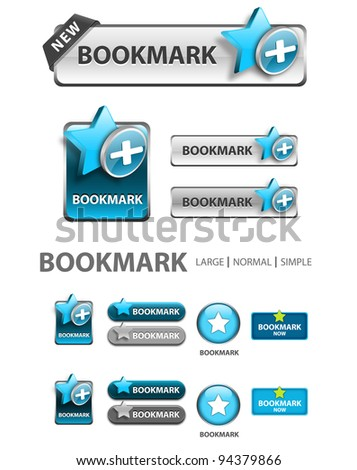 add to bookmark button, collection of favorite icons and buttons - stock photo