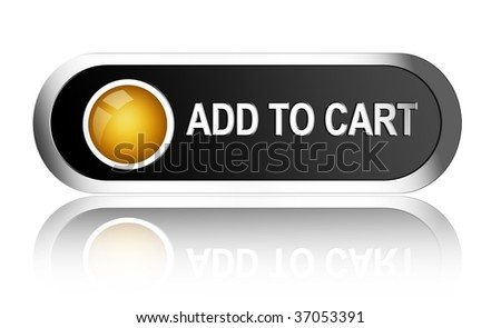 Add to cart black and orange button over white background - stock photo