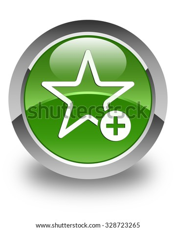 Add to favorite icon glossy soft green round button