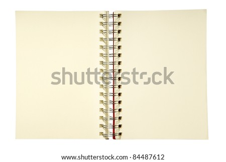 Add your own element.  An open spiral notebook with blank pages. - stock photo