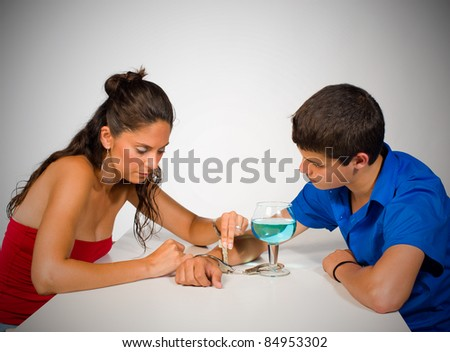 Addicted teenager getting help from someone, a concept - stock photo