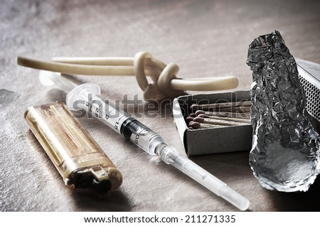 Addiction and drugs - stock photo