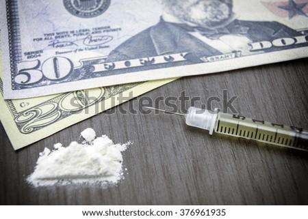 addiction, Cocaine line track, syringe, heroin - stock photo