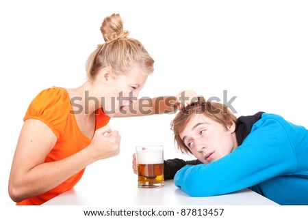 addiction - problems with alcohol - drunk man and his girlfriend - stock photo