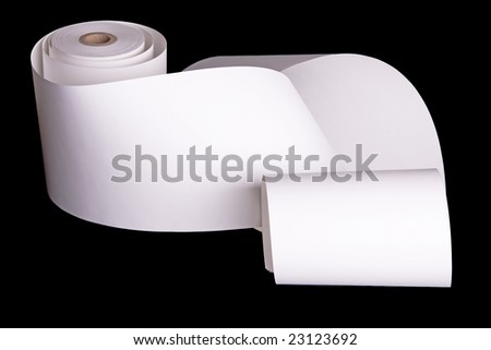Adding machine tape partially unrolled and ready for your text.  Isolated on black. - stock photo