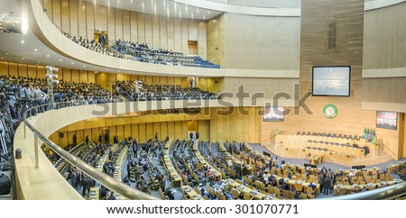 Addis Ababa, Ethiopia - July 28: Nelson Mandela Hall of the AU Conference Centre was filled with a large crowd awaiting the arrival of President Obama on July 28, 2015, in Addis Ababa, Ethiopia. - stock photo