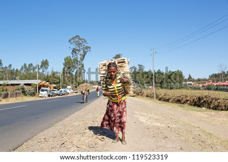 ADDIS ABABA, ETHIOPIA - NOV 10: Unidentified woman carries wood to market November 10, 2012 near Addis Ababa, Ethiopia. Over 85 percent of Ethiopian women reside in labor intensive rural areas. - stock photo