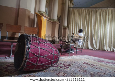 ADDIS ABABA, ETHIOPIA - NOVEMBER 29, 2011: Interior of the St.Georges Cathedral in Addis Ababa, Ethiopia. Built by italian prisoners of war, two emperors of Ethiopia were crowned in the Cathedral. - stock photo