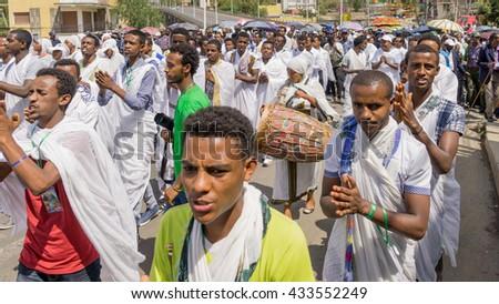 Addis Ababa - Jan 20: Ethiopian Orthodox followers celebrate Timket,  the Ethiopian Orthodox celebration of Epiphany, on January 20, 2016 in Addis Ababa, Ethiopia. - stock photo