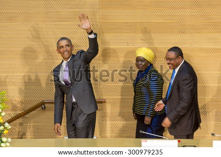 Addis Ababa - July 28: President Obama waves to the enthusiastic crowd attending his speech, on July 28, 2015, at the Nelson Mandela Hall of the AU Conference Centre in Addis Ababa, Ethiopia. - stock photo