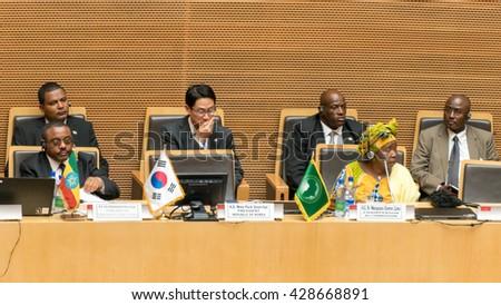 Addis Ababa - May 27: H.E. Dr. Nkosazana Dlamini Zuma, Chairperson of the AUC, and H.E. Ato Hailemariam Dessalegn, Prime Minister of Ethiopia, on May 27, 2016, in Addis Ababa, Ethiopia. - stock photo