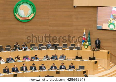 Addis Ababa, May 27, H.E. Dr. Nkosazana Dlamini Zuma, Chairperson of the AUC, delivers a speech during South Korea's President visit to the African Union on May 27, 2016, in Addis Ababa, Ethiopia. - stock photo