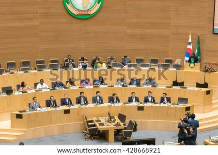 Addis Ababa - May 27: H.E. MME. Park Geun-Hye, President of the South Korea visits the African Union Commission accompanied by Prime Minister of Ethiopia, on May 27, 2016, in Addis Ababa, Ethiopia. - stock photo