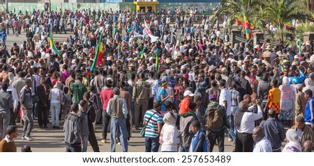 Addis Ababa - Sep 2: Ethiopians gathers in front of Emperor Menelik'?s Monument to celebrate the 119th Anniversary of the Ethiopia's victory  at the battle of Adwa. Sep 2, 2015, Addis Ababa, Ethiopia. - stock photo