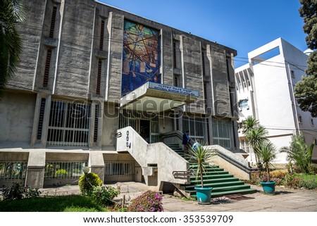 Addis Abeba, Ethiopia - December 3th 2015 - The national museum in Addis Ababa, Etiophia, Africa - stock photo