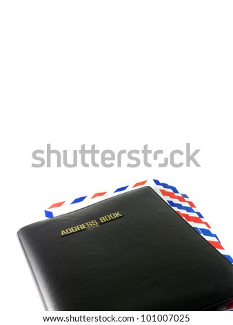 address book and airmail - stock photo