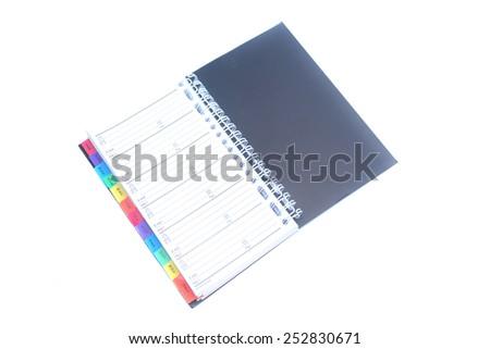 address book isolated on white background - stock photo