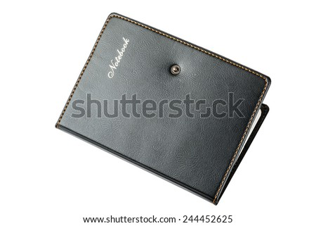 Address book or diary with the inscription, black, closed, on a white background